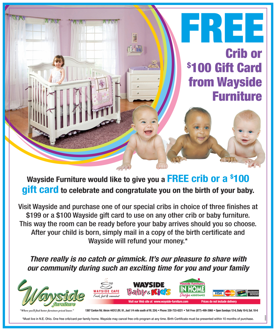 Baby cribs for free - Wayside Would Like To Congratulate You By Giving You A Free Crib Or 100 Gift Card View Details Below And Visit One Of The Country S Largest Selections Of